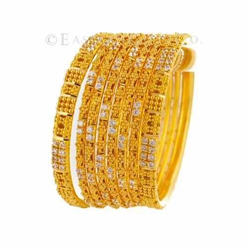 22ct Gold Indian Filigree Bangles set. 8 Pcs