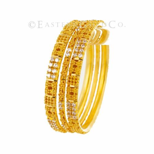 22ct Gold Indian Filigree Bangles set. 3 Pcs