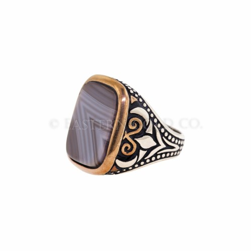 Mens Gemstone Silver Ring