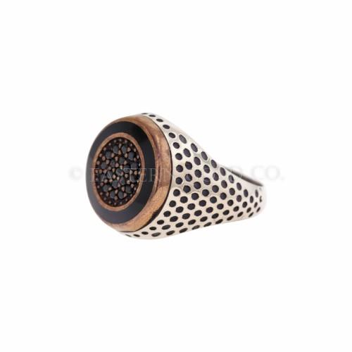 Mens Gemstone Silver Ring