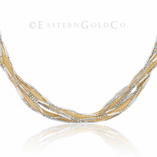 18ct Gold Silk Necklace Set
