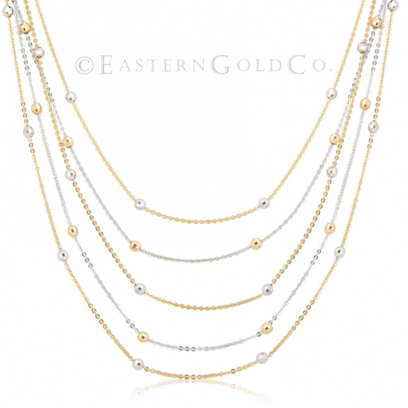 18ct Gold Silk Necklace Set