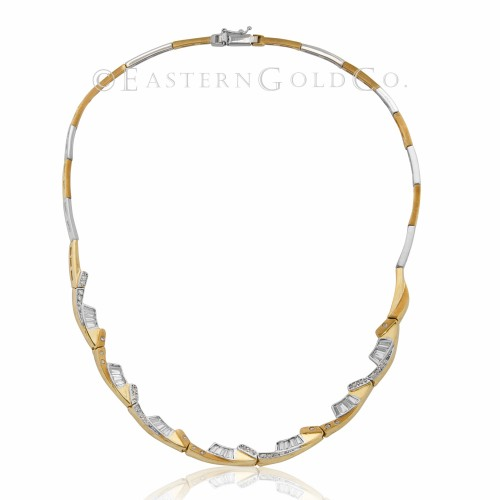 18ct Yellow and White Gold Necklace Set Cubic Zirconia