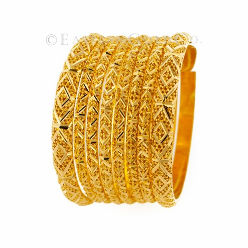 22ct Gold Bangles set, Machine Cut Mirror finishing