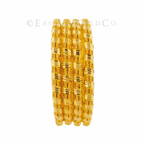 22ct Gold Indian Filigree Bangles set. 6 Pcs
