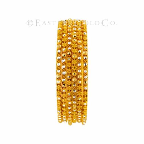 22ct Gold Indian Filigree Bangles set. 12 Pcs
