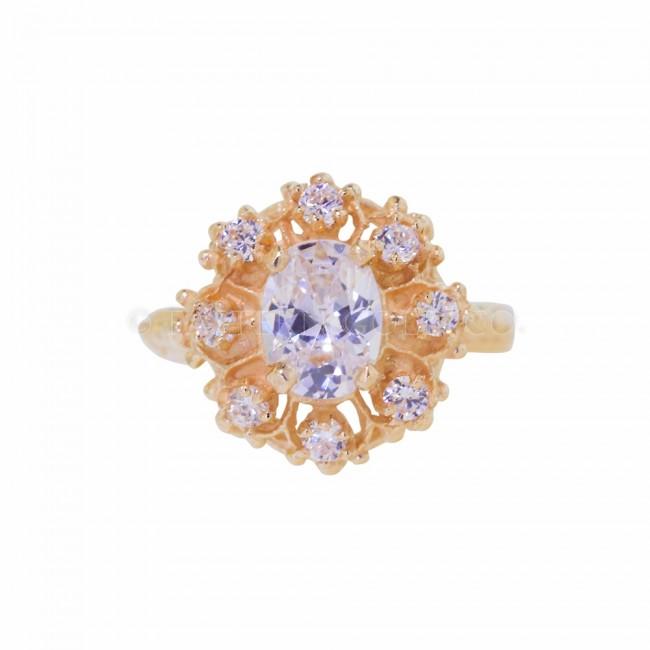 22ct Gold Ladies Cz Cluster Ring