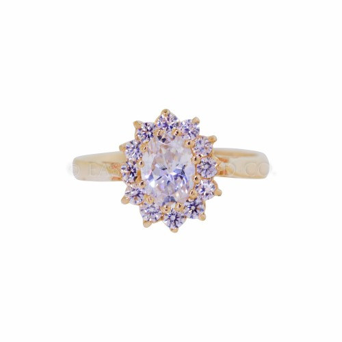 22ct Gold Ladies Cz Cluster Ring