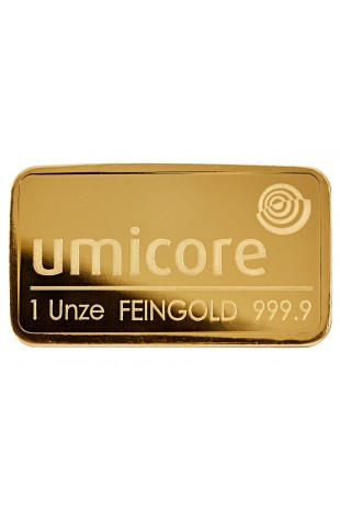 Umicore 1Oz fine gold bullion bar