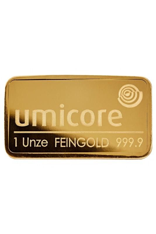Umicore 1Oz fine gold bullion bar
