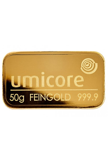 Umicore 50 Grams fine gold bullion bar