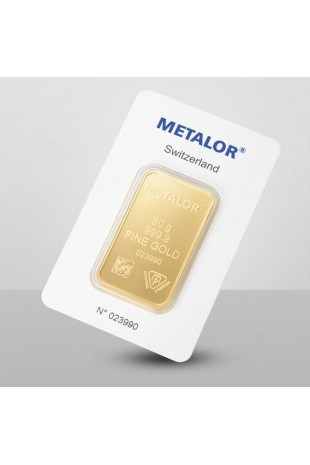 Metalor 50g Minted Gold Bar