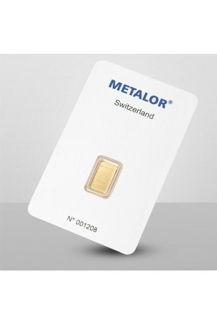Metalor 1g Minted Gold Bar