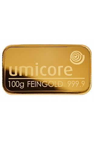 Umicore 100g Minted Gold Bar