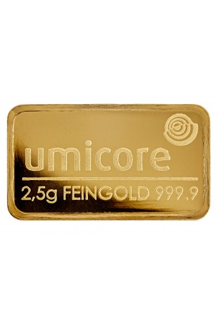 Umicore 2.5g Minted Gold Bar