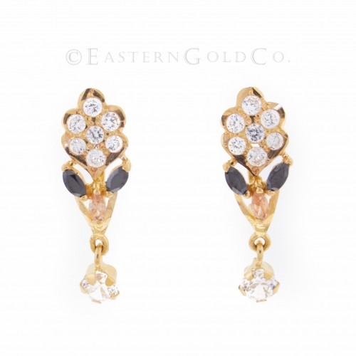22ct Gold Ladies Stone Set Earrings