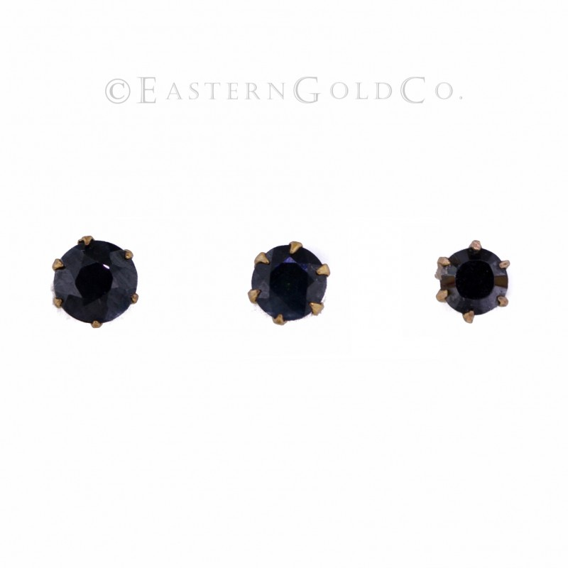 22ct Gold Nose Pin Black Cz