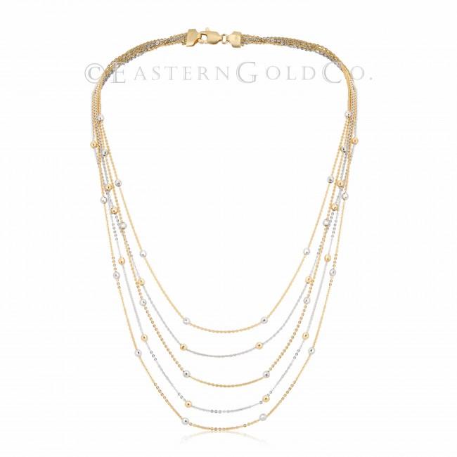Silk Necklace Set 18ct Gold